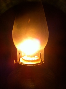 One of our (very dusty) hurricane lamps in service.